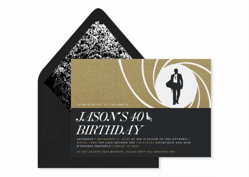 007 birthday party invitation