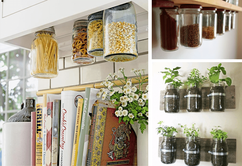 Up cycling your glass mason jars stationers for Mason jar kitchen ideas