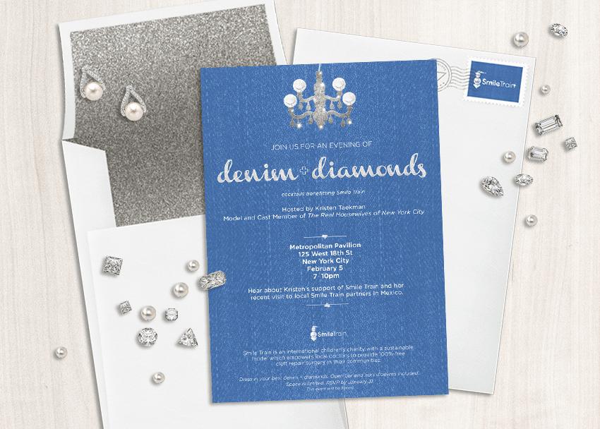 denim and diamonds nonprofit event invitation