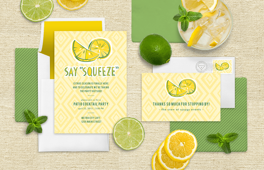 Summertime lemon invitation from Greenvelope.com