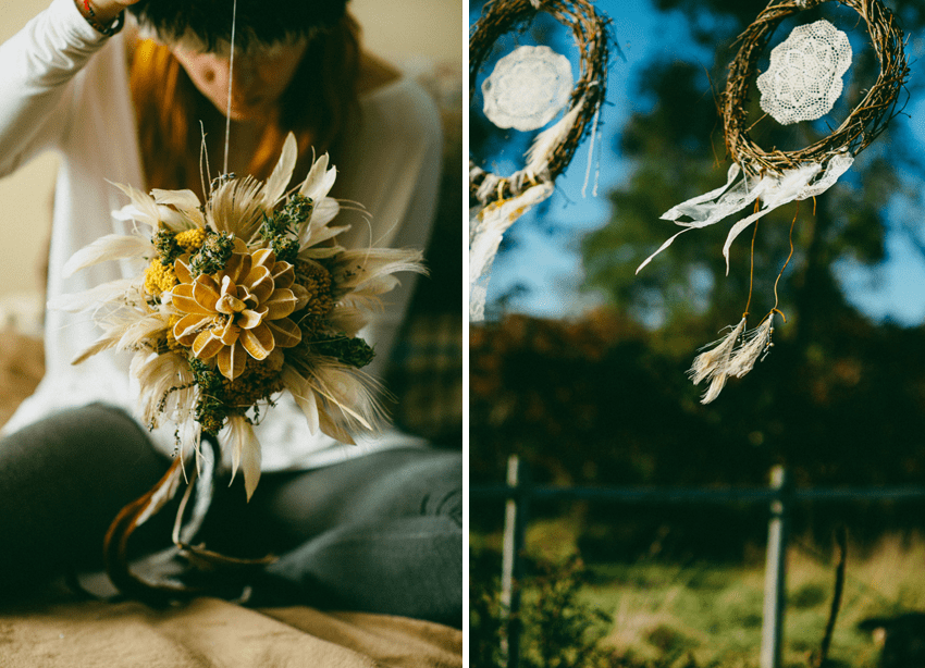 #DIY dreamcatchers + dried flowers and feather bouquet | Boho chic #Greenvelope wedding with photography by Caroline Ghetes