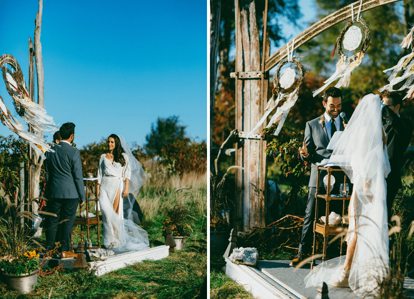 Gorgeous outdoor ceremony and stunning DIY details. So many awesome green, ecofriendly, and fun ideas in this wedding! via Greenvelope
