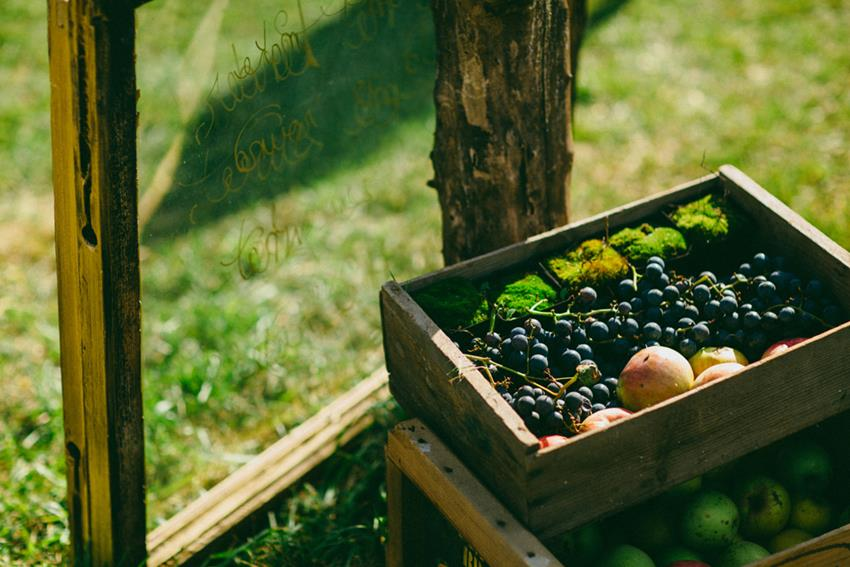 Discarded + fresh fruit as decor for this eco-chic #Greenvelope bohemian wedding