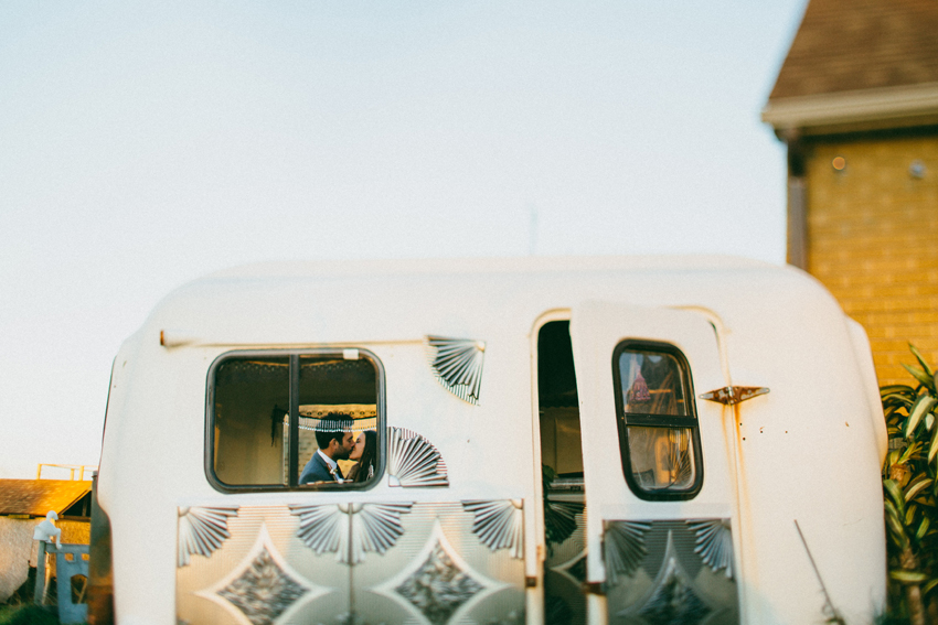 Unique wedding photo idea! Bohemian camper for engagement or wedding day photo