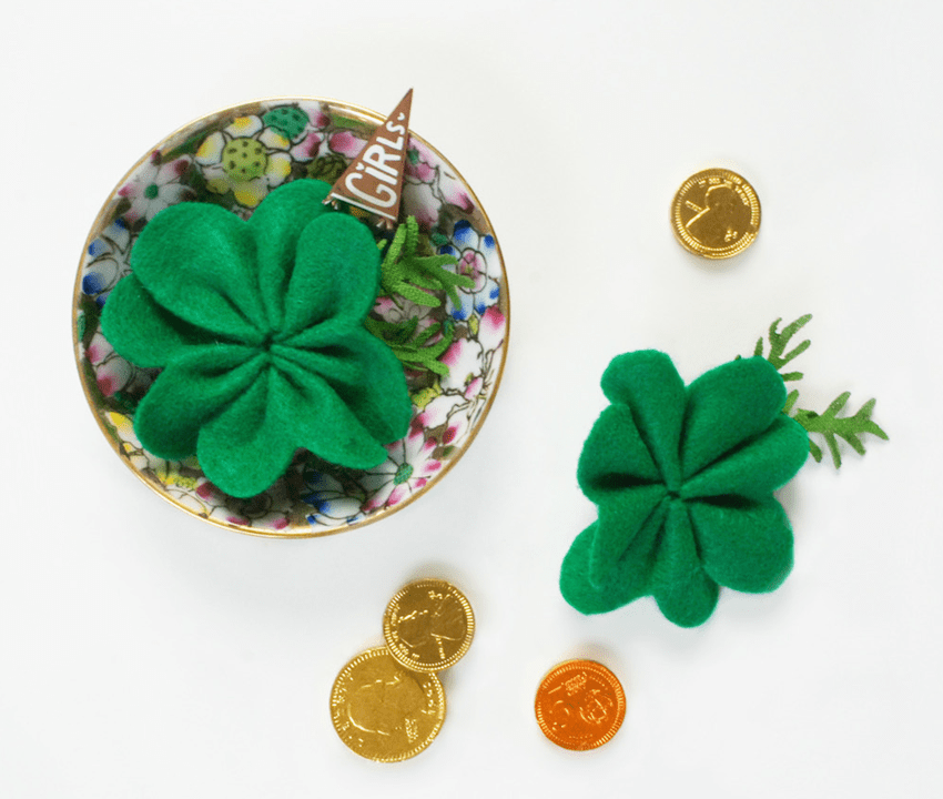 St. Patrick's Day Styled Clover Brooch - Greenvelope and Marabou Design