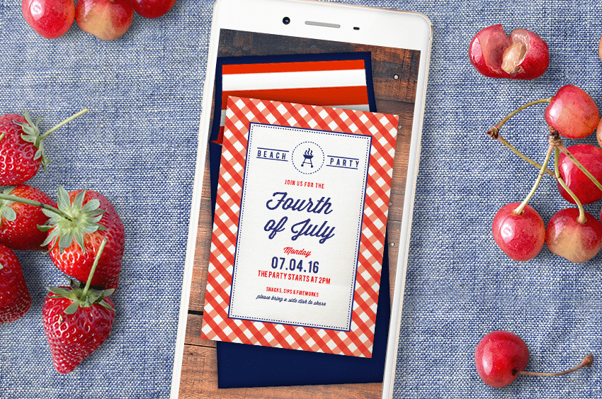 Greenvelope invitations are perfect for a 4th of July picnic or party