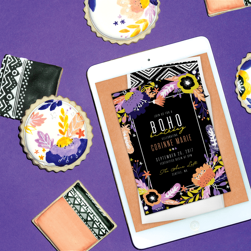Boho Birthday digital invitation from Greenvelope and Sogi's Honey Bakeshop
