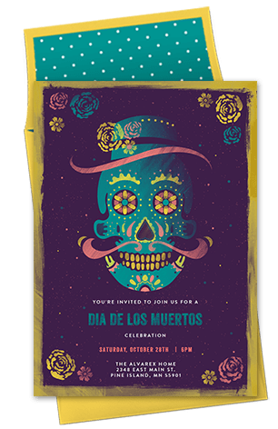 Halloween Dia De Los Muertos Invitation