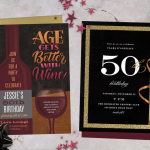 Two 50th birthday invitations surrounded by gold ribbon and star-shaped confetti