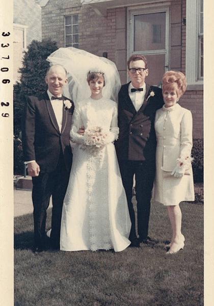Vintage wedding photo of 1960s trendy couple