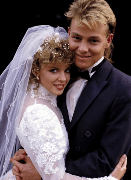 1980s bride and groom
