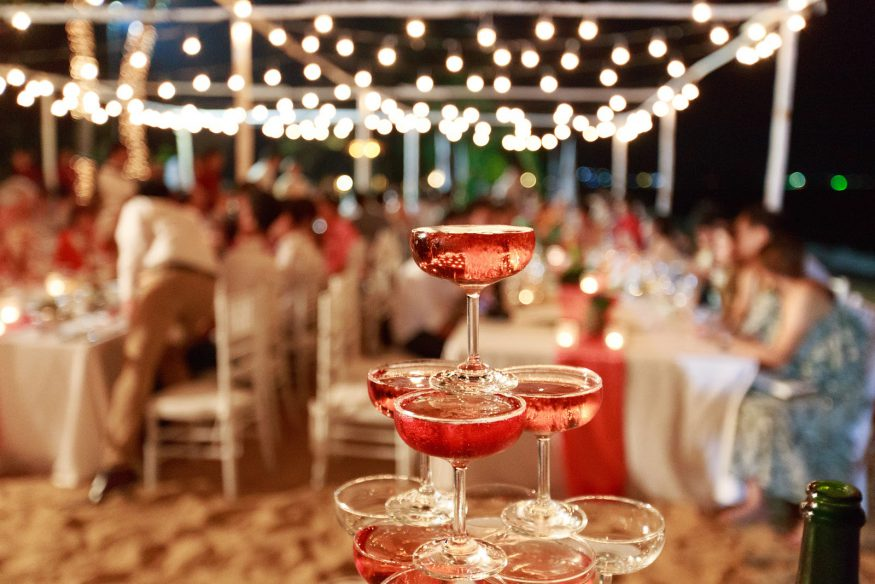 Wedding reception ideas: A champagne coupe centerpiece