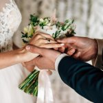 Ring exchange wording: A groom puts a ring on a bride's finger