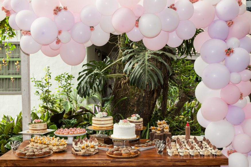 Bridal shower etiquette: A table of desserts and decorations