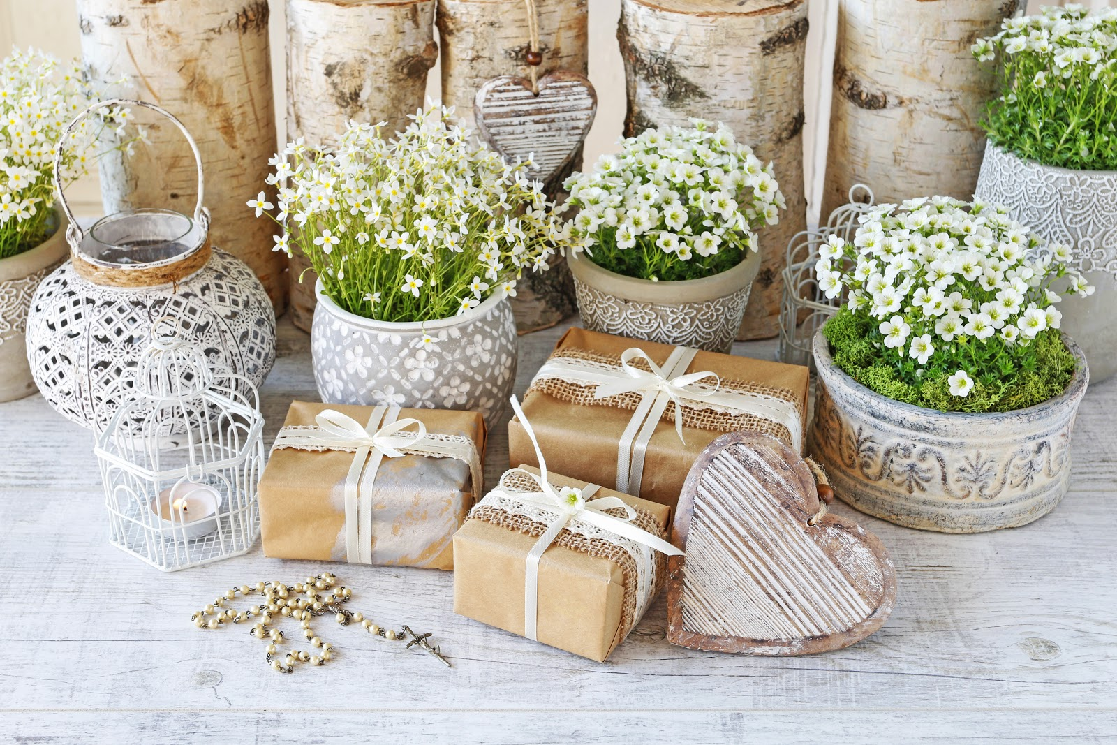 Wedding wishes: A table of wedding gifts and decorations