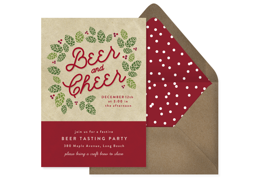 """Kraft paper invitation with hops that reads """"Beer and Cheer"""""""