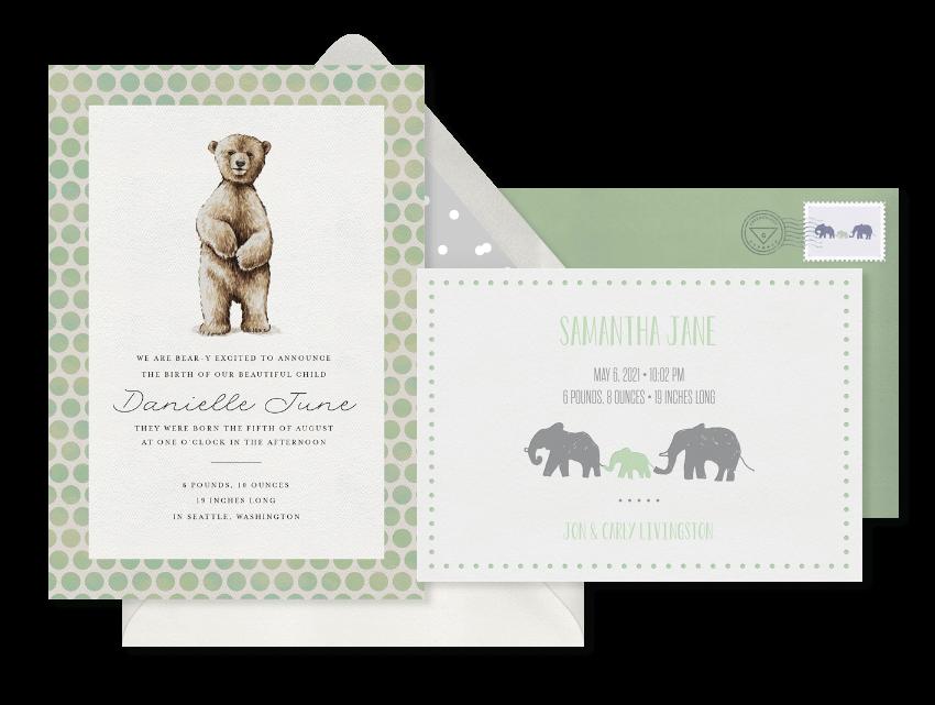 Animal Theme Birth Announcements