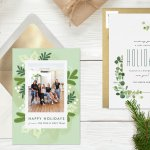Business holiday cards on a rustic background