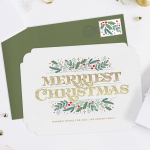 """A Christmas card with """"Merriest Christmas,"""" one of the most classic Christmas card greetings"""