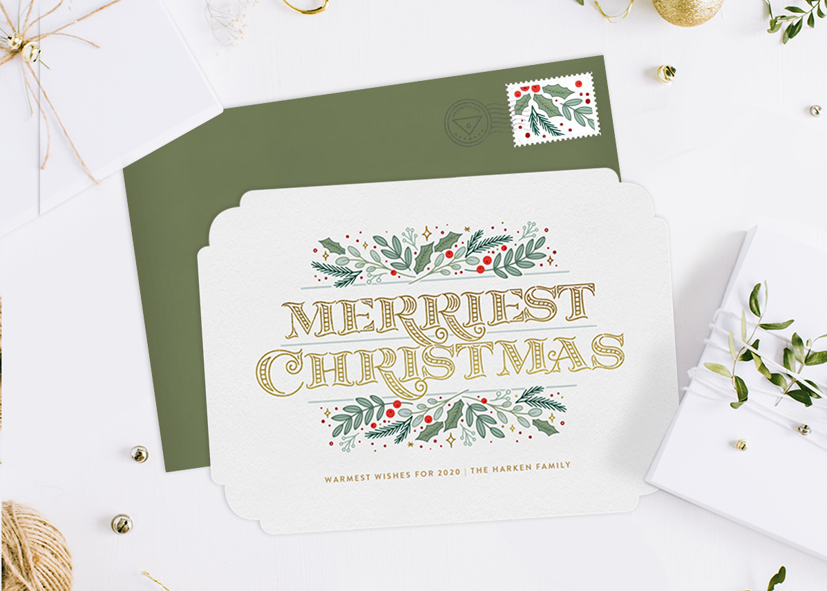 "A Christmas card with ""Merriest Christmas,"" one of the classic Christmas card greetings"