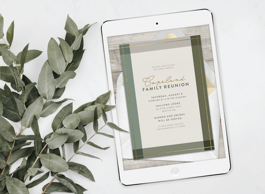 An online family reunion invitation on a tablet, surrounded by greenery