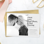 "Funny wedding invitations that read, ""Great love, good music, & bad dancing"""