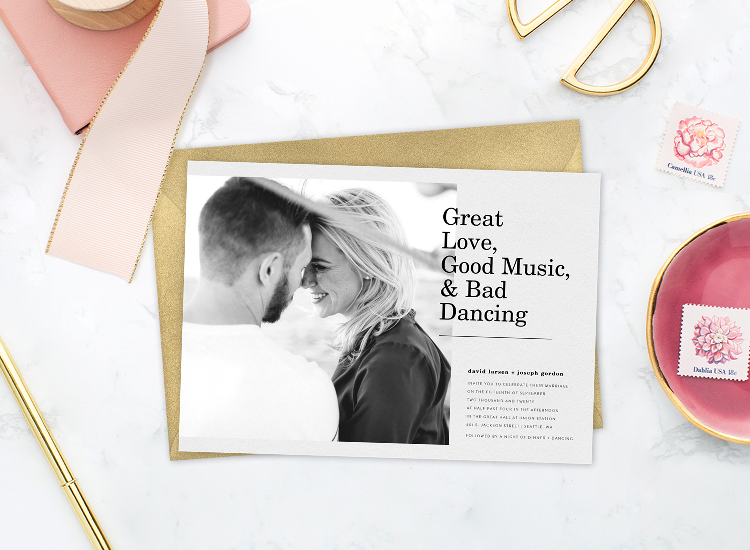 "Funny wedding invitations that read ""Great love, good music, & bad dancing"""