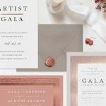 Three gala invitations with an envelope, wax seal, ribbon, and flowers