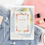 Girl's getaway weekend invitation displayed on an iPad with some femme clothing and nail polish nearby