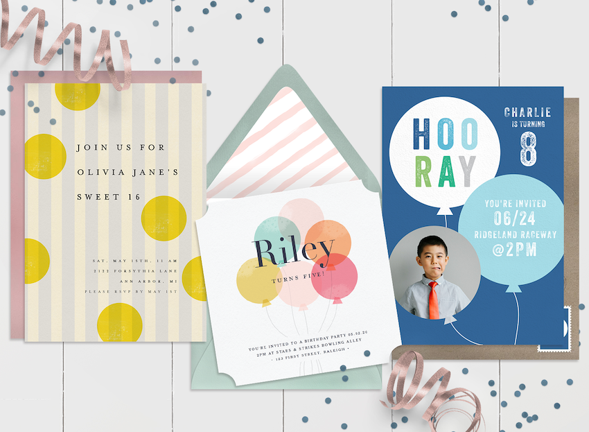 Kid's birthday invitations header