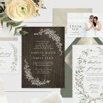 Four wedding invitation ideas on a rustic backdrop with flowers