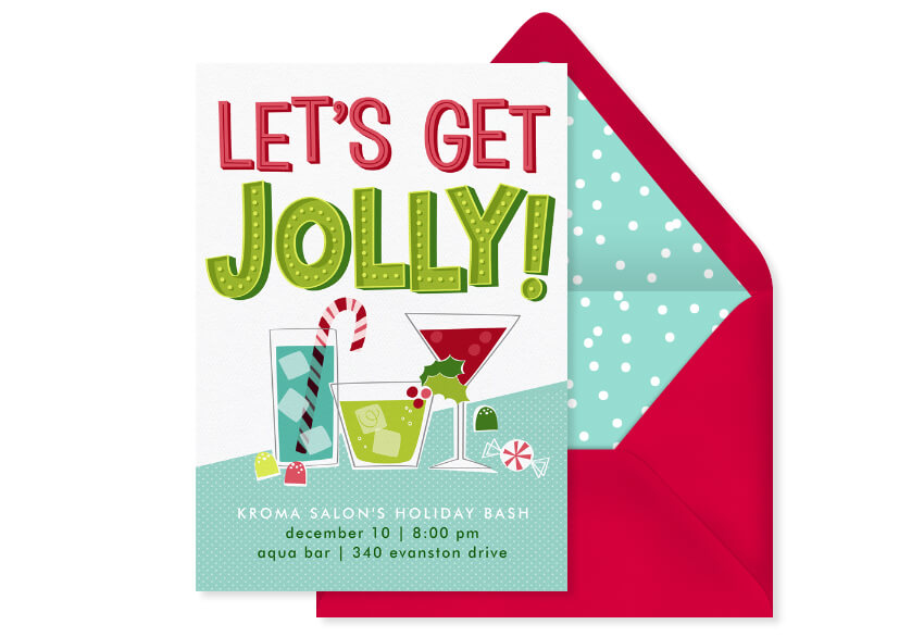 """Online invitation featuring festive holiday cocktails that reads """"Let's get Jolly!"""""""