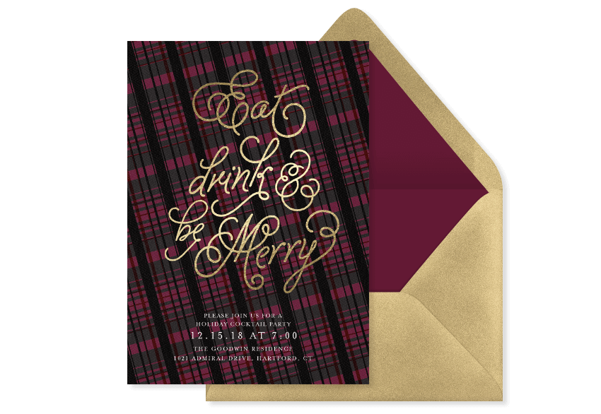 """Plaid holiday invitation that says """"Eat, Drink, & Be Merry"""" in gold foil script"""
