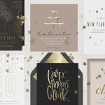 A variety of New Year's Eve cards sprinkled with confetti