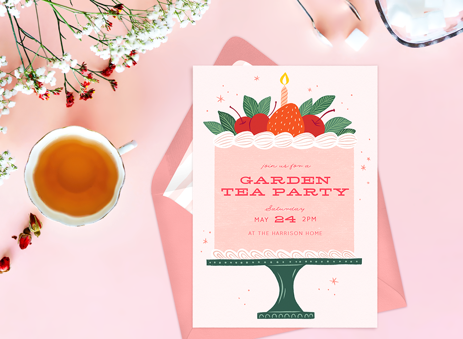 Tea party invitations: a cup of tea, flowers, and an invitation