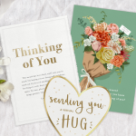 Three thinking of you cards with flowers and ribbon