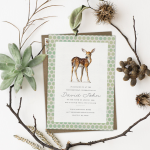 A woodland baby shower invitation surrounded by twigs and plant life