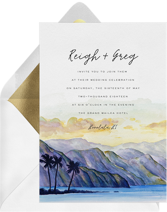 Beach wedding invitations: the Ala Kahaki invitation design from Greenvelope