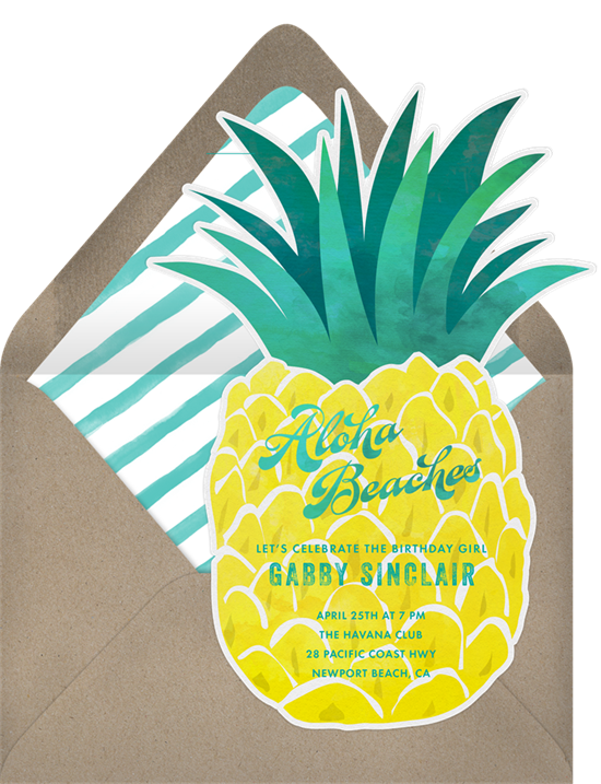 Pineapple cut out birthday invitations online