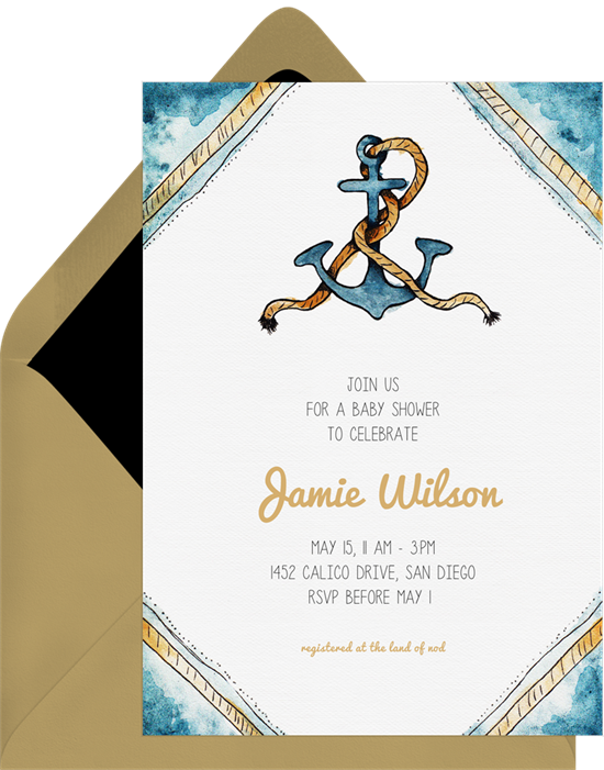 Baby shower invitations for boys: the Anchor Aweigh invitation design from Greenvelope