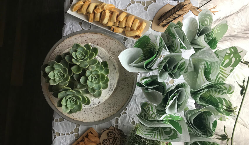 aerial photo of party table with succulents, patterned napkins, and bruschetta