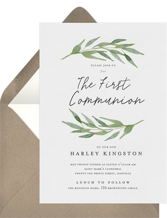 The Arched Branches First Communion Invitations from Greenvelope
