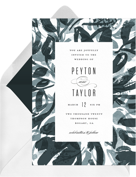 Modern digital wedding invitations with abstract, watercolor leaves around the border