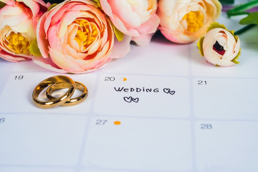 Average cost of wedding invitations: a planning calendar, flowers, and wedding rings