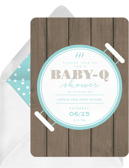 Baby shower invitations for boys: the Backyard Baby-Q invitation design from Greenvelope