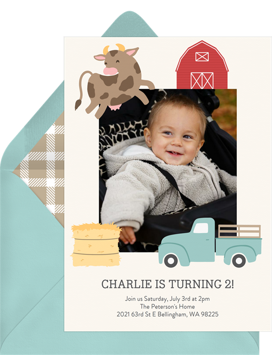 1st birthday invitations: the Barnyard Party invitation design from Greenvelope