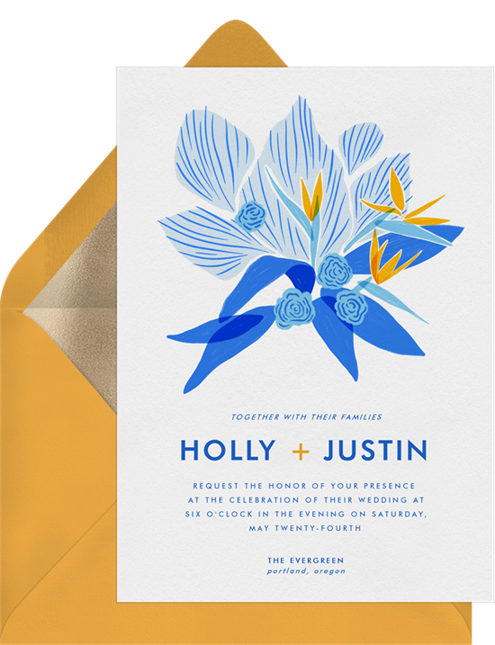 Tropical wedding invitation examples with a blue and yellow, abstract bird of paradise flower