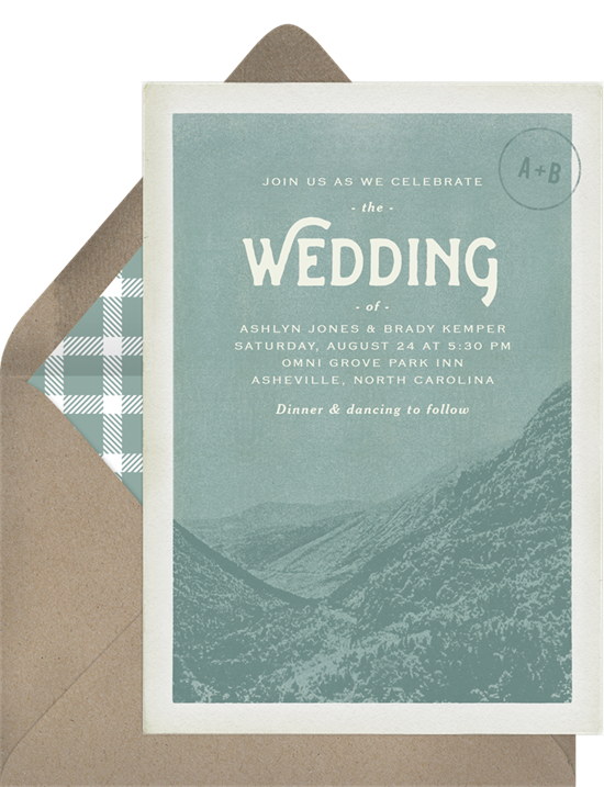 Digital wedding invitations featuring a vintage postcard design of the Blue Ridge Mountains