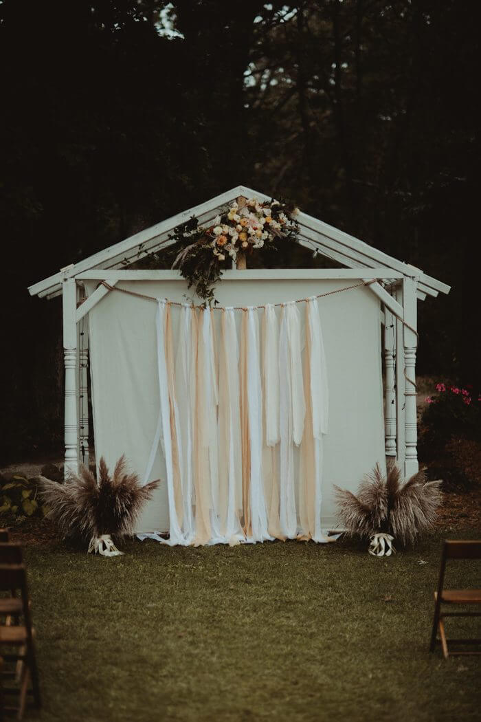 boho wedding backdrop ceremony