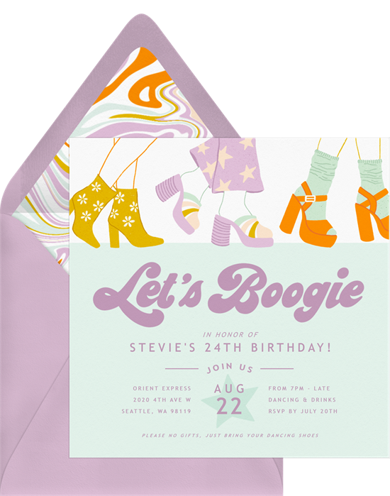 Sweet 16 invitations: the Boogie Time invitation design from Greenvelope